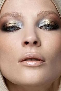 15 Dramatic Eye Makeup Looks to Die For - metallic gold + silver eyeshadow with glossy nude lips