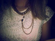 Lace dress + gold necklace