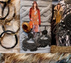 NOMAD CHIC  A mixed media jewellery statement with a treasure trove of  layering and stacking. The urban traveller's licence to style is all about big, bold and eclectic mixing to complement the romantic patchwork of chunky knits, shearling and cashmere.     Key Accessories  Bangle stacks  Layered chain  Medallions and coins  Statement neckwear  Embossed metal