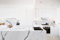 Vicostone: The Art of Quartz Kitchen Benchtops, Kitchen Layout, Kitchen Reno, Kitchen Ideas, Stylish Kitchen, Wall Cladding, Innovation Design, Home Kitchens, Small Spaces