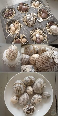some eggs with newsprint and tissue tape to create a little Easter nest in an old English muffins mold with some paper grass, chocolate bunnies and eggs.