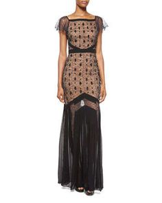 Flutter-Sleeve Embroidered Lace Gown, Navy by Michael Kors at Neiman Marcus.