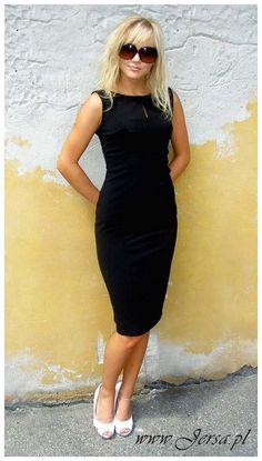 Casual Elegant And Classic Pencil Black Dress Midi length by Jersa, $55.00