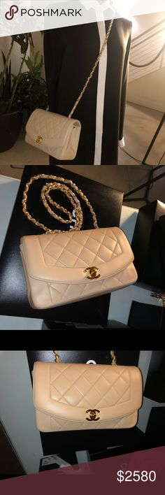 c1e0758f88d4 Auth CHANEL Nude/Tan Lambskin Diana Single Flap Gorgeous 100% Authentic  CHANEL Timeless Tan
