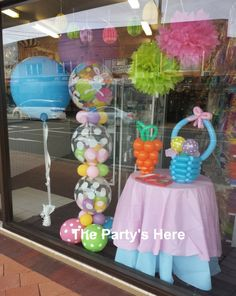 Our Easter Window Display. Just experimenting with some different designs, we hope you like it! #easter #balloons #windowdisplay #merchandising www.thepartyshere.com.au