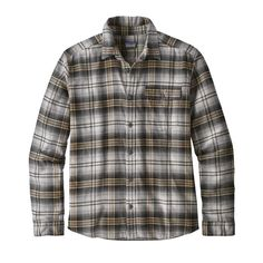 Patagonia mens long sleeve lightweight fjord flannel button down shirt unbroken: piki green buttes: new navy organic cotton Mens Flannel, Flannel Shirt, Mens Button Up, Button Down Shirt, Coton Biologique, Collar Shirts, Men's Shirts, Front Design, Patagonia