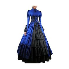 Partiss Women Bowknot Stand Collar Gothic Victorian Lolita Dress... ❤ liked on Polyvore featuring costumes, womens victorian costume, lady halloween costumes, gothic costumes, ladies halloween costumes and victorian halloween costumes