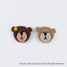 New PDF Crochet Pattern - Teddy Bear Applique - Text instructions and SYMBOL CHART instructions. $2.99, via Etsy.