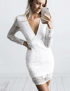 58b3d0c432b Simple Short V-Neck Lace Cocktail Dress Long Sleeves White Homecoming Dress