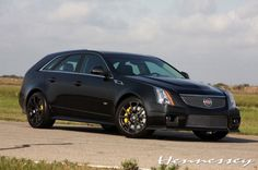 Hennessey V700 Black Diamond Edition CTS-V front angle view... My idea of a family vehicle... Kids dont need to go to college