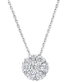 ff221bdfe315 Macy s Diamond Flower Cluster Pendant Necklace in 14k White Gold (1 ct.  t.w.)   Reviews - Necklaces - Jewelry   Watches - Macy s
