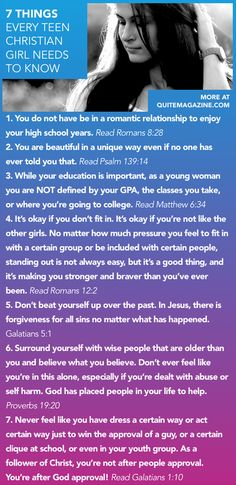 7 Things Every Teen Christian Girl Needs to Know // advice for young christian women girls bible verses study devotional encouragement quote… Christian Girls, Christian Life, Christian Quotes, Christian College, Christian Humor, Lol So True, Just In Case, Just For You, Girls Bible