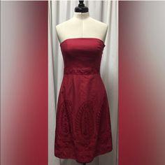 "Ann Taylor Strapless Dress Burgundy strapless dress, 32"", invisible zipper on side Ann Taylor Dresses"