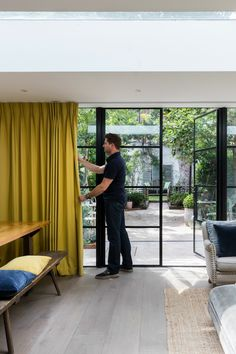 George Clarke on Windows Kitchen Extension Doors, Bi Folding Doors Kitchen, Kitchen Doors, Windows With Blinds, Curtains With Blinds, Windows And Doors, Black Windows, Crittal Doors, Crittall Windows