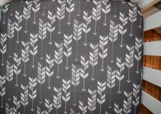 Crib sheet in grey black and white - fitted crib sheet with watercolor monochrome arrows- modern fun and unique pattern for the trendy room