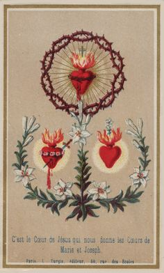 Illustration of the hearts of Jesus, Mary and Joseph from an old holy card