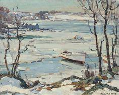 """""""Frozen River,"""" Aldro Thompson Hibbard, oil on canvas, 16 x 20"""", private collection."""