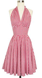 Trashy Diva - Trashy Diva Dottie Dress - style #dottie3dr-redgingham - Trashy Diva's Red Gingham Collection is here in new original designs and signature favorites. The Dottie Dress, has finally returned in red gingham. This version of the Dottie Dress features a knee-length gathered skirt with pockets. The design has a lightly gathered bust that crosses over in the front with a high pointed under bust. The wide halter style straps tie at the back neck for added support. - $165.00
