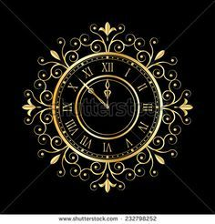 stock-vector-golden-clock-vitage-style-for-new-year-and-christmas-design-vector-illustrations-232798252.jpg (450×470)