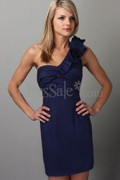 @Alix Miller. Bridesmaid dress? One Shoulder Short Navy Dress-this is cute-perhaps in plum for Emily's wedding?