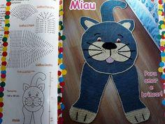 Tapete de Crochê em formato de Gato com Gráfico e Passo à Passo