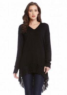 Karen Kane  Fringe V-Neck Sweater