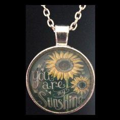 "NEW - ""YOU ARE MY SUNSHINE"" SUNFLOWERS ROUND GLASS PENDANT NECKLACE #Handmade #Pendant"