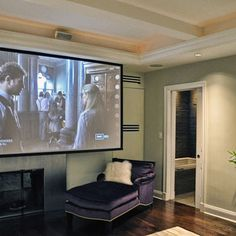 New York Contemporary Bedroom Design, Pictures, Remodel, Decor and Ideas - page 6 Bedroom Size, Master Bedroom, Projector In Bedroom, Projector Tv, Living Room Theaters, Home Theater Rooms, Basement Bedrooms, Screen Design, Contemporary Bedroom