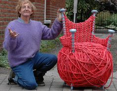 This funny yarn chair is perfect for the avid knitter or crocheter. Don't you want to take a seat?