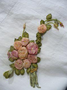 Antique vintage silk Ribbon rose flowers Doll Hat millinery 20s flapper trim