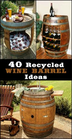 A collection recycled wine barrels. See the many ways of re-purposing wine barrels, here are some of the best ideas that we've come across. Wine Barrel Crafts, Wine Barrel Table Diy, Barrel Projects, Diy Garden Projects, Wine Barrel Furniture, Bar Furniture, Barris, Barrel Bar, Wine Logo