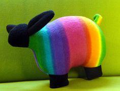 Rainbow sheep stuffed animal stuffed sheep by AimeesHomestead, $15.00