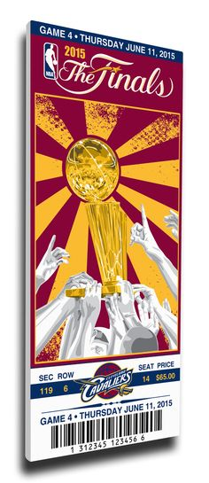 2015 NBA Finals Game 4 Canvas Mega Ticket - Cleveland Cavaliers