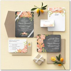 Chalkboard Floral - Signature White Enclosure Cards - Coloring Cricket - Orange Sherbet