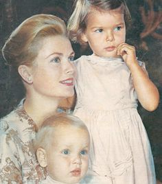 Princess Grace with her children Princess Caroline and Prince Albert on the cover of the 15 April 1960 issue of Elle magazine.