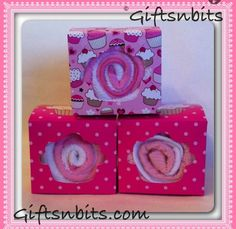Large Washcloth Sweets in a Gift-box. Made with 2 washcloths. Available in blue & neutral . You can see more of my crafts @ www.giftsnbits.com Washing Clothes, Baby Gifts, Recycling, Neutral, Sweets, Box, Crafts, Snare Drum, Manualidades
