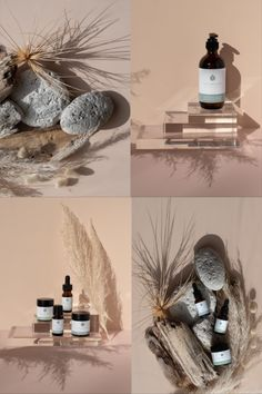 Natural Skincare Product Photography and Styling for Nourishe Natural Skincare. Roz McIntosh Photography and Styling. Natural, minimal, neutral asthetic with floral details.