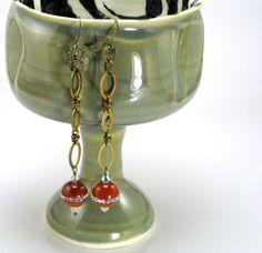 Carnelian Drop Earrings Bohemian Jewelry by WildGingerSpiro, Autumn Jewelry Fall Jewelry, Unique Jewelry, Crystal Earrings, Drop Earrings, Wild Ginger, Carnelian, Bohemian Jewelry, Autumn, Crystals