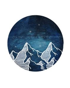 Blue Mountain Circle Watercolor Nature Night Galaxy Sky Minimal Circle Art Print. -ahughescreative Etsy etsy.me/1t56YGo