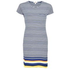 Women's Barbour Harewood Dress - Yellow (245 PEN) ❤ liked on Polyvore featuring dresses, blue beach dress, t shirt dress, tee shirt dress, jersey knit dresses and nautical dresses