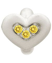 Endless Sterling Silver Citrine Triple Love with Yellow CZ Charm