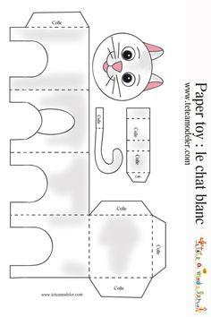 Modèle chat blanc à imprimer: