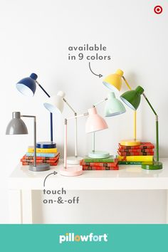 Let your kiddos play favorites with their color picks, like these Pillowfort task lamps. Fun and modern accessories, they come in 9 color options and will brighten up not just a bedside table or desk, but also a little tyke's mood. Bonus: these lamps will continue to look great in any room as kids grow and they turn on and off with just a touch—so easy!