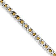 Sterling Silver Whiskey Quartz Bracelet QX850WQ