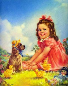 Little Girl Playing Dress Up With Dog -- Mabel Rollins Harris (XX Century, American)