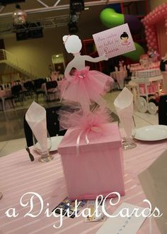 E- incase ivonne wants to keep the present box we can add a little cut out of a shirt and Tutu idk jst an idea Tutu Party, Baby Party, Ballerina Birthday Parties, Girl Birthday, Ballerina Centerpiece, Ballerina Baby Showers, Baby Girl Baptism, Party Centerpieces, Birthday Decorations