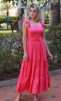 Vestido Pink, Casual Frocks, Chiffon, Top Top, Chic Dress, Skirt Fashion, Neon, Boutique, Summer Dresses