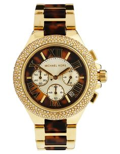 Michael Kors Camille Tortoiseshell Two-Tone Watch