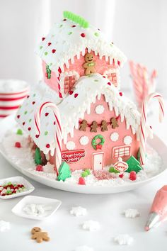 Pretty Pink Gingerbread Shop with Wilton's Gingerbread House Kits | Sprinkle Bakes