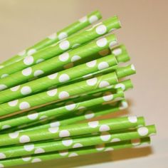 """25 Paper Drinking Straws Lime Green With White Dots 7.75"""" Retro Vintage Style Durable by paperstraws. $5.99. Durable. Biodegradable. Covered with food safe coating. Retro style. Length 7.75"""". OH SO CUTE!!!!!  Length- 7 3/4"""" (suitable for cold beverages) Our retro style drinking straws are not only colorful and fun they are made of paper so they are completely biodegradable.  These straws are thick and are covered with food safe coating to make them last for hou..."""